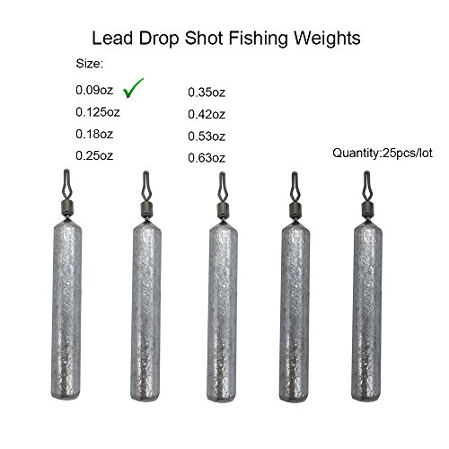 (RG 25pcs/lot Skinny Finesse Lead Drop Shot Fishing Weights Sinkers Hand Poured for Bass Trout Crappie Catfish-Size: 3.5g 5g 7g 10g 12g 15g 18g (Natural - 0.09 ounce - 2.5 gram))