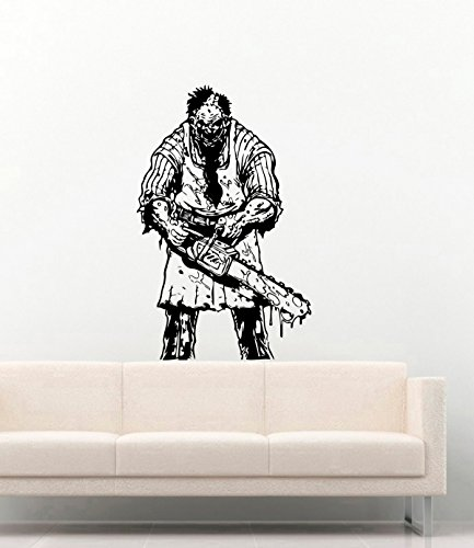 Horror Halloween Vinyl Wall Decals Scary Clown with Chainsaw Decor Stickers Vinyl Mural (Saw Clown)