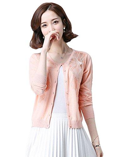 「ReiRei」レディース2017春夏カーディガン?ボレロ刺繍 シンプルショート丈 九分袖トップスニットサマー
