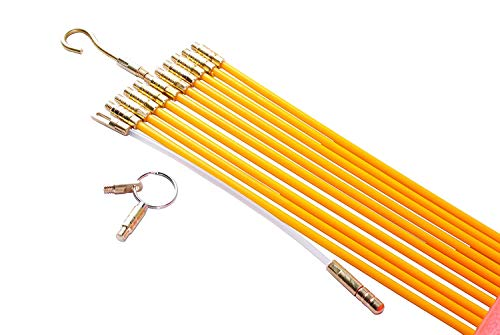 Rod Cable - Wadoy 33FT Fiberglass Running Wire Cable - Snake Wire Fiberglass Rod Kit Electrical Fish Tape Pull Push Kit