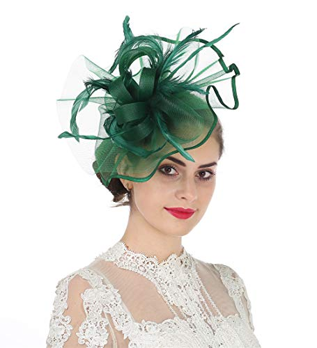 Lucky Leaf Women Girl Fascinators Hair Clip Hairpin Hat Feather Cocktail Wedding Tea Party Hat (5-Dark Green)
