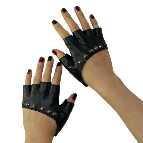 New Lady Gaga Sexy Diva Art Black Rivet Fingerless PU Leather Five Fingers Dress Driving Gloves