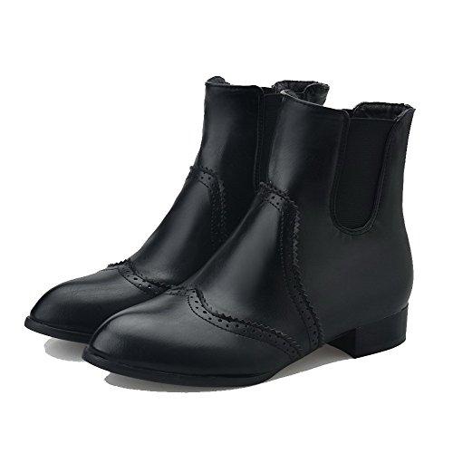 AllhqFashion Mujeres Pu Caña Baja Sólido Sin cordones Mini Tacón Botas Negro