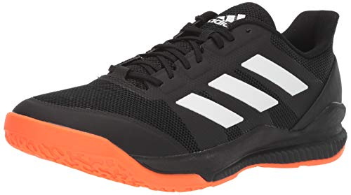 Orange Volleyball Shoes - adidas Men's Stabil Bounce Volleyball Shoe, Black/White/Solar Orange, 6.5 M US