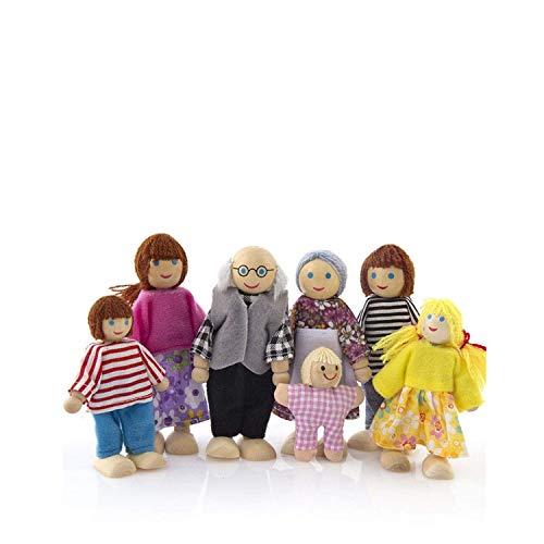 Juguetes de madera, muebles de madera, muñecas casa familia miniatura 7 personas Set Muñeca de juguete para niño