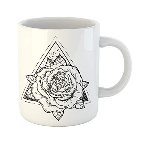 Semtomn Funny Coffee Mug Blackwork Tattoo Flash Rose Flower Over Sacred Geometry Highly 11 Oz Ceramic Coffee Mugs Tea Cup Best Gift Or Souvenir