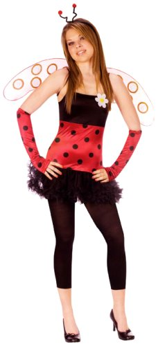 FunWorld Women's Teen Lovely Ladybug, Black, Junior 0-9 Costume