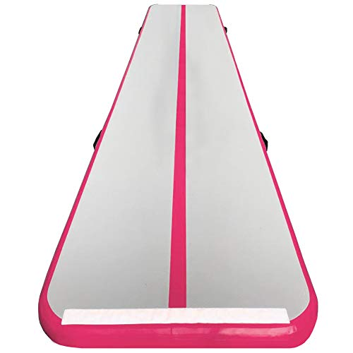 (86 York Inflatable Tumble Air Track Mat with Pump for Gymnastics Home Use/Training/Cheer leading/Beach/Park Water/Parkour (13ftx3.3ftx4in, pink))