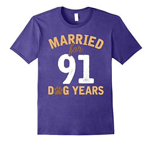 Mens Cute Married For 91 Dog Years T-shirt 13th Anniversary XL Purple