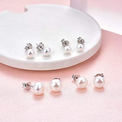 Pendientes de Perlas Cultivadas de Agua Dulce tipo Bot/ón Blancas de Plata de ley 925 para Mujeres y Ni/ña