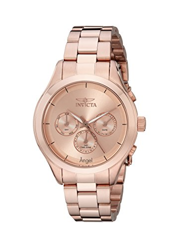 Invicta Women's 12467 Angel Rose Dial Rose Gold Ion-Plated Stainless Steel ()