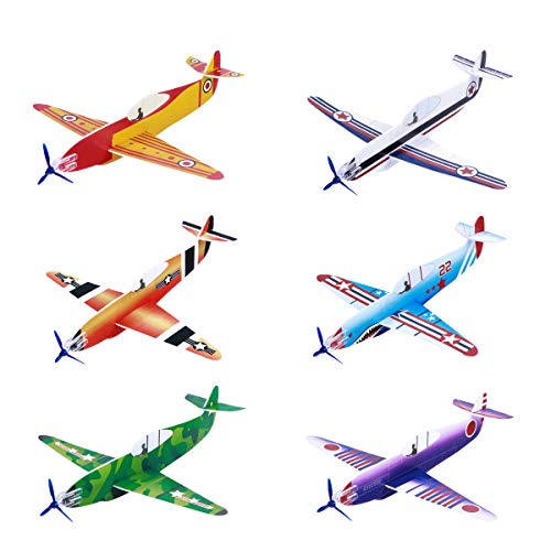 Toyvian Flying Airplane Gliders Toys,Foam Plane Models,36 Pack 8 Inch Party Bag Fillers for Kids