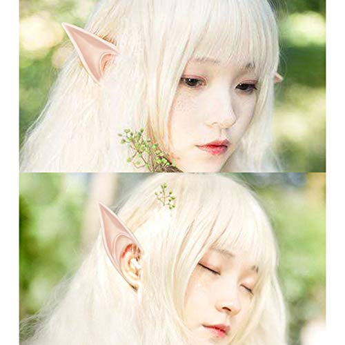 wodceeke Soft Elf Ears, Comfortable Reusable Pointed Prosthetic Tips Ear Decoration for Cosplay & Christmas Party (1 Pairs) by wodceeke (Image #4)