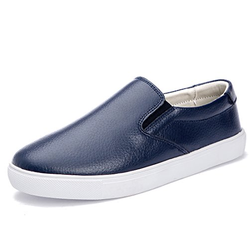 Ruiatoo Womens Fashion Slip On Plain Felpa Tacco Basso In Pelle Blu Puro