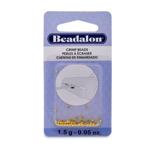 Beadalon Crimp Beads Size #1, 1-1/2 Grams/Pkg, Gold - Crimp Gold Plated Bead