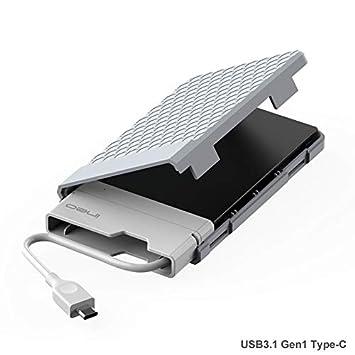 Caja con USB 3.1 Gen1 Tipo C para Disco Duro Externo 2.5 - ElecGear USB-C Carcasa para SATA III HDD y SSD, Optimizado para SSD, SuperSpeed Hard ...
