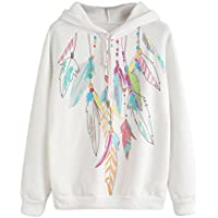 Litetao Womens Fashion Feather Long Sleeve Hoodie Sweatshirt Hooded Pullover Tops
