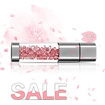 Techkey 16GB Jewelry Crystal USB Flash Drive with 2 in 1 Anti Dust Plug and Stylus Pen, Photo Frame Packaging - Sakura Pink