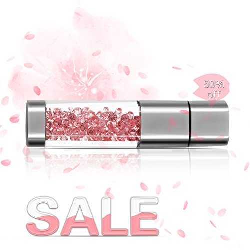 Techkey Jewelry Crystal USB Flash Drive for Girls, with 2 in 1 Anti Dust Plug + Stylus Pen for Touch Screens Set, Photo Frame Gift Packaging, 32GB, Sakura (1 Pen Flash Drive)
