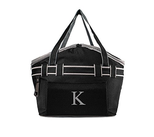 Cathy's Concepts Monogrammed Letter D Personalized Collapsible Picnic Basket Cooler Tote Bag, Black