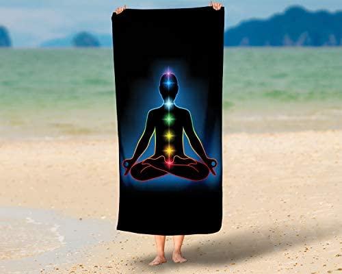 LimeWorks Toalla de Baño, 70x140 cm, Meditación Yoga Chakras ...