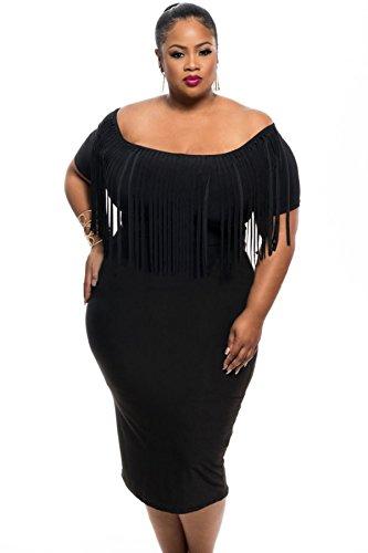 Abiti Da Cerimonia Taglia 52.Nuovo Da Donna Colore Nero Con Frange Midi Dress Vestito Da
