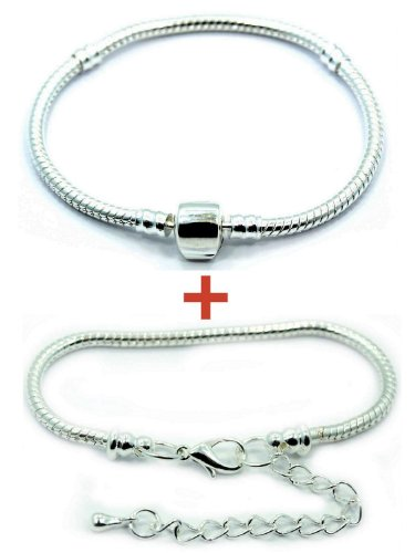 (2 (Two) Silver Plated Snake Chain Classic Bead Barrel Clasp + Lobster Clasp Bracelet (6 Inches))