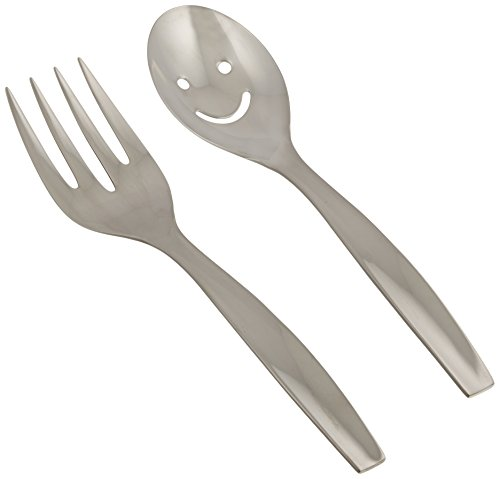 Gourmet Settings Loft 2-Piece Salad Serving Set, Smiley Face by Gourmet Settings