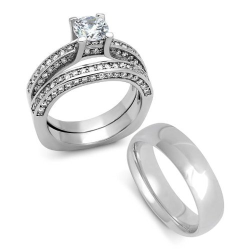 Yourjewellerybox - Anillo con detalle de anillo de matrimonio - para mujer - acero inoxidable,