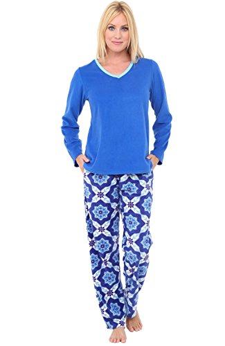 Alexander Del Rossa Womens Warm Fleece Pajamas Long V Neck Pj Set