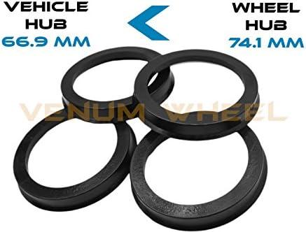 4 허브 Centric Rings 66.9 ID부터 74.1 OD 블랙 폴리카보네이트 소재 (차량 66.9mm에서 휠 74.1mm) / 4 허브 Centric Rings 66.9 ID부터 74.1 OD 블랙 폴리카보네이트 소재 (차량 66.9mm에서 휠 74.1mm)
