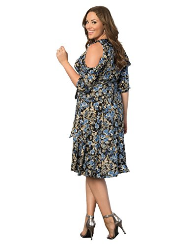 Kiyonna Women's Plus Size Barcelona Wrap Dress 4X Floral Meadow