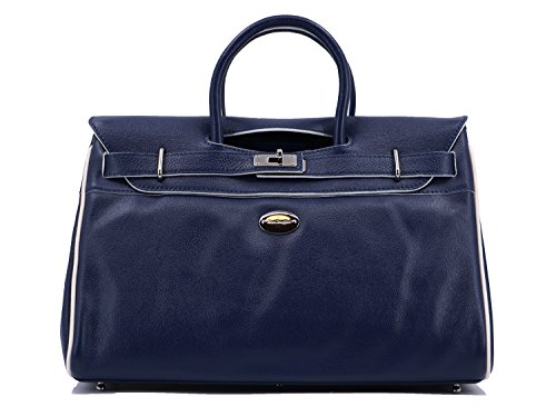 main Sac Bunis Douglas blanc Mac de Cobalt cuir S à nickel buffle finition Pyla Rwrw5