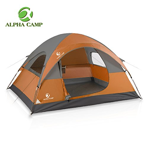 ALPHA CAMP 3 Person Tent for Camping Tent Easy Setup - 8' x 7'- Orange