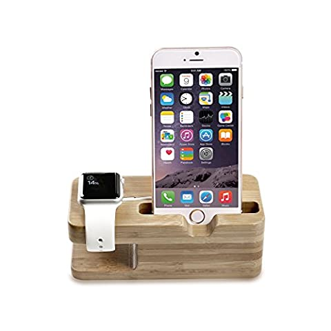 Apple Watch Stand, MoKo Portable Bamboo Wood Dual Charging Stand Dock Station Stock Cradle Holder for Apple iWatch 38mm / 42mm, iPhone SE / 6s / 6s plus / 6 / 6 Plus /