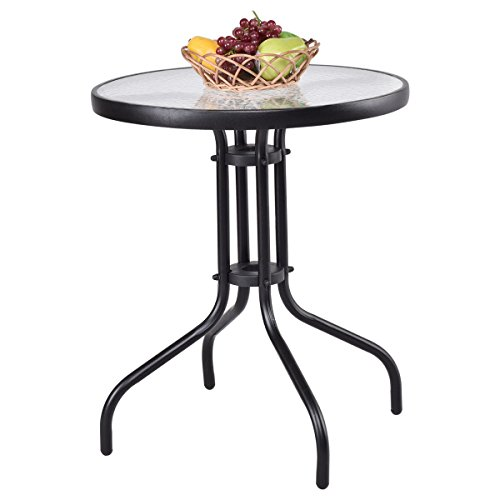 Tangkula 24'' Patio Table Garden Yard Outdoor Lawn Indoor Tempered Glass Top Steel Frame Coffee End Side Table (black round) by TANGKULA