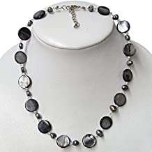 Chic-Net chain necklace ladies gray purple pearl mother of pearl shell tiles 42- 48 cm Carabiner nickel free