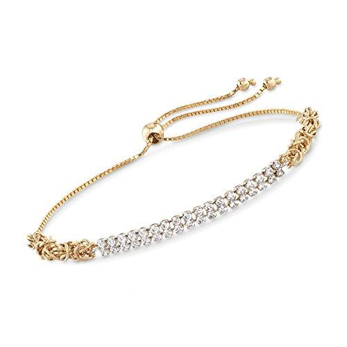 Ross-Simons 0.70 ct. t.w. CZ Two-Row Byzantine Bolo Bracelet in 14kt Yellow Gold 14kt Byzantine Design