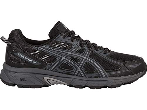 ASICS Mens Gel-Venture 6 Running Shoe, Black/Phantom/Mid Grey, 10.5 D(M) US