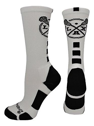 LAX Lacrosse Crew Socks (White/Black, Medium) from MadSportsStuff