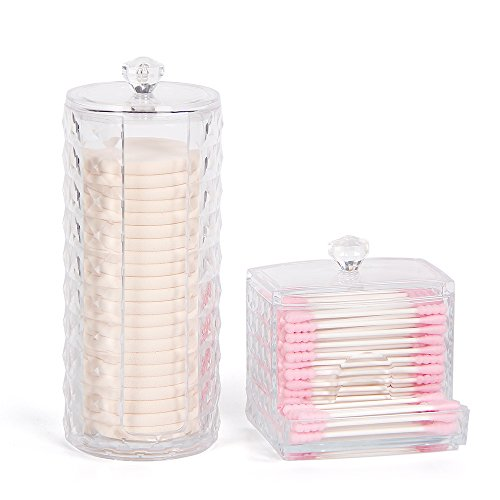 Cotton Pad Holder & Swab Storage Dispenser for Cotton Swabs, Make Up Pads, Great Container to  Cotton Balls, Q-Tips & all Cosmetic Storage, Nice on Bathroom/Vanity Counter, Dressing Table(Pack of 2)