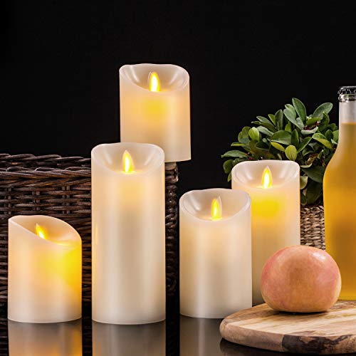 Pandaing Flameless Candles Set of 5 (D 3'' x H 4'' 4'' 5'' 6'' 7'') Battery Operated LED Pillar Real Wax Moving Flame Flickering Electric Candle Gift Set with Remote Control Cycling 24 Hours Timer by Pandaing (Image #2)