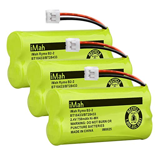 (iMah Ryme B2-2 BT18433/BT28433 Phone Battery Compatible with AT&T and VTech BT18433 BT28433 BT184342 BT284342 BT183348 BT283348 T-T104 BT-1011 BT-1018 BT-1022 BT-1031 (Pack of 3))