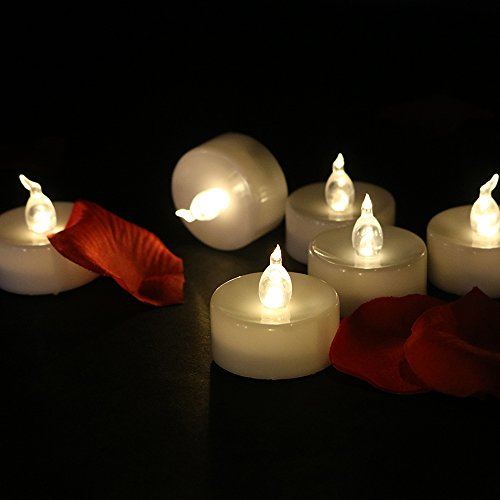 Cozeyat 24pcs Battery Operated Tea Lights, Flameless Candles Flickering LED Votives for Church, Choral, Wedding Party, Date Night, Christmas, Thanksgiving, Home Table Outside Window Decoration ()