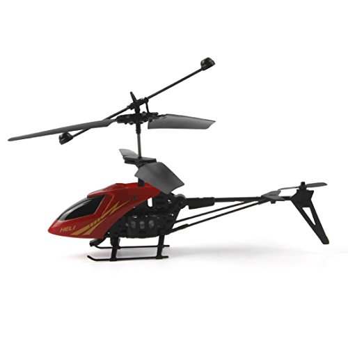 E-SCENERY Mini RC 2CH Metal Helicopter, Micro 2 Channel Radio Remote Control Aircraft with Night Light and USB Rechargeable 3.7V 75mAh Lithium Battery (Red)