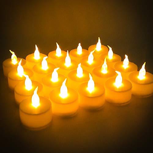 Velas LED, 24 piezas Velas Parpadeantes sin Llama, Velas LED Sin Fuego con Pilas, Velas de LED Decorativas con Efecto Llama, Luces de Velas Electricas para Navidad, Pascua, Boda, Fiesta, Restaurante