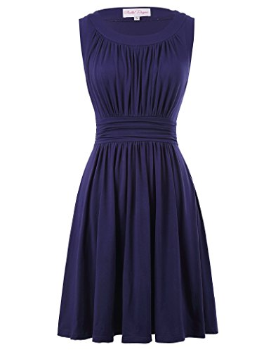 Belle Poque Sleeveless Summer Dress for Women Knee Length Plus Size 3XL Navy Blue BP289-3