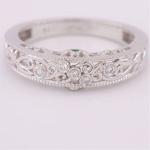 Vine scrolls white band, Diamond and emeralds Wedding Band, filigree pattern rings