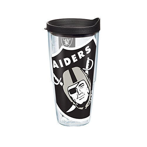Tervis 1085246 NFL Oakland Raiders Colossal Tumbler with Wrap and Black Lid 24oz, (Raiders Tumbler)