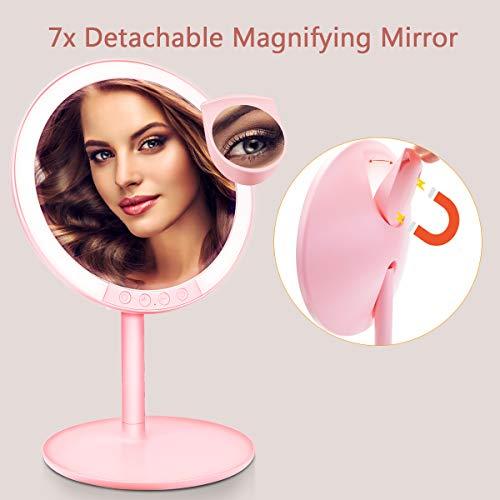 Morpilot Miroir de Maquillage Grossissant 7x Lumineux à Ventouse avec 66 Lumières LED Naturelles, Rotation à 120° et Fonctionnant sur batterie (Rose 2)
